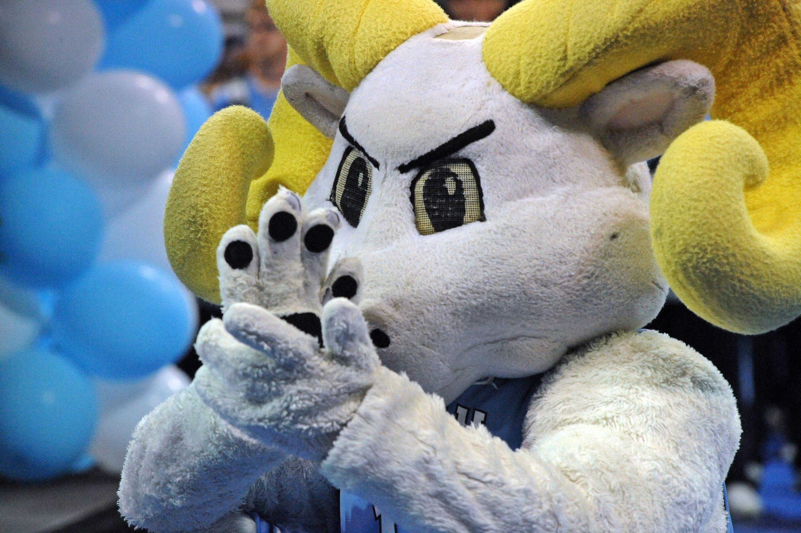 Rameses mascot clapping.