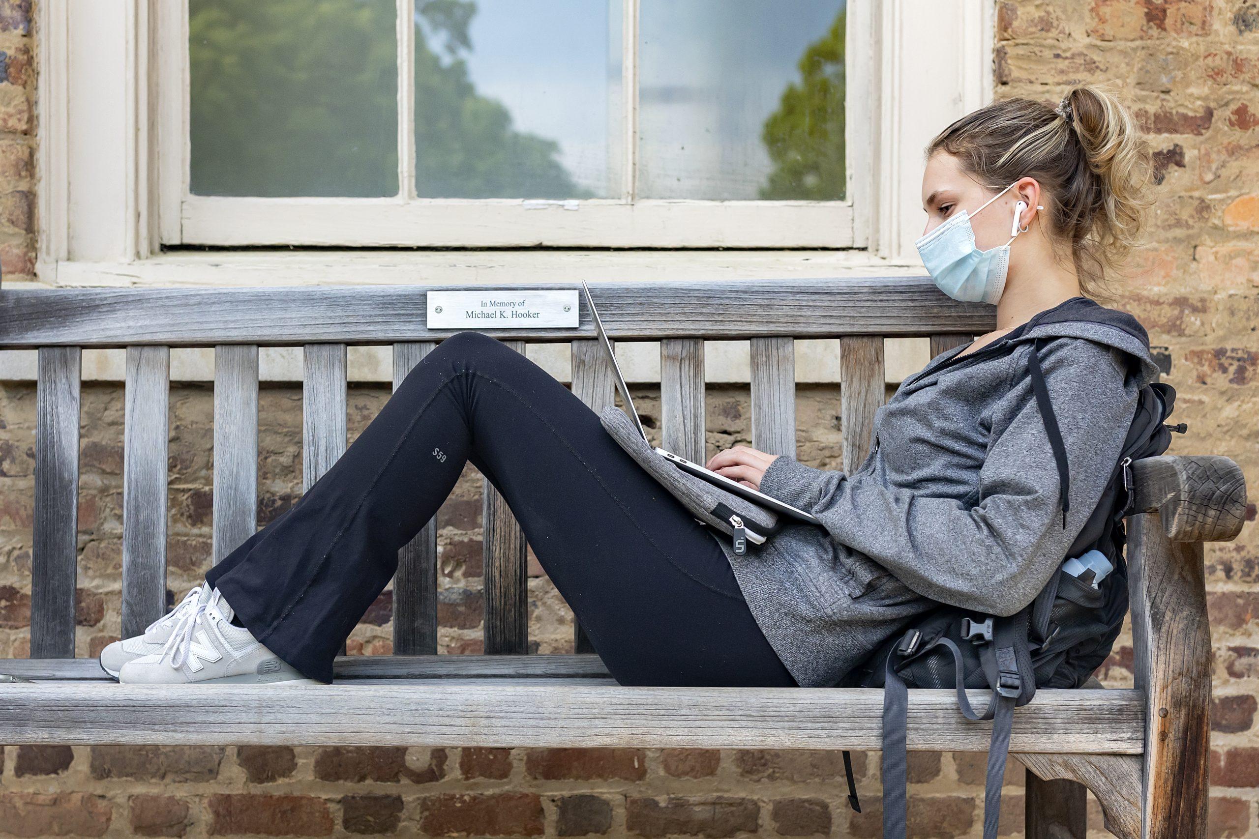 Woman studying outside